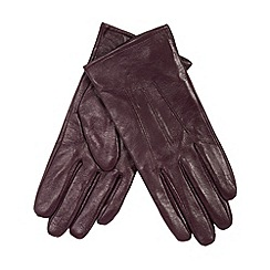 Isotoner - Plum leather gloves