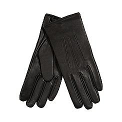 Isotoner - Black leather gloves