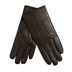 Isotoner - Chocolate leather gloves