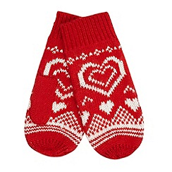 Floozie by Frost French - Red fairisle heart knitted mittens