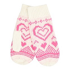 Floozie by Frost French - Bright pink fairisle heart knitted mittens