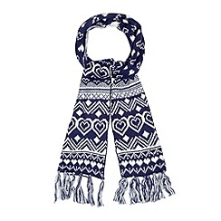 Floozie by Frost French - Navy heart fairisle scarf