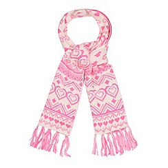 Floozie by Frost French - Bright pink heart fairisle scarf