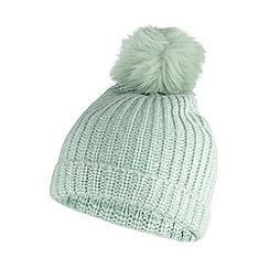 Faith - Light green ribbed knit bobble hat