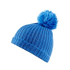 Faith - Bright blue faux fur bobble hat