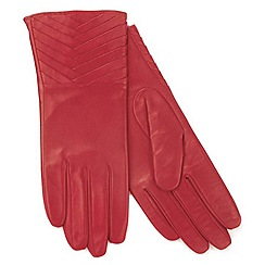 Isotoner - Red pleated cuff leather gloves