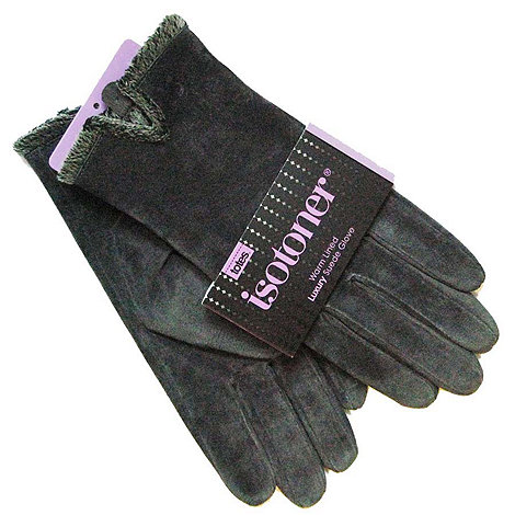 Isotoner - Grey suede microluxe lined gloves