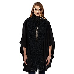 The Collection - Black faux fur fleece wrap
