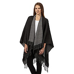 The Collection - Dark grey reversible fringe wrap