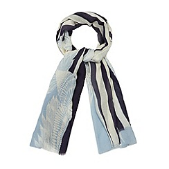 Principles by Ben de Lisi - Designer navy bird stripe scarf
