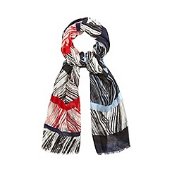 Principles by Ben de Lisi - Designer red feather striped scarf
