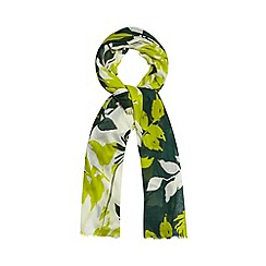 Betty Jackson.Black - Designer green two tone floral scarf