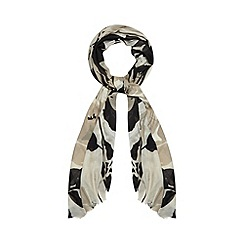 Betty Jackson.Black - Designer black two tone floral scarf