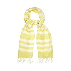 Betty Jackson.Black - Designer lime linen striped scarf