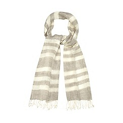 Betty Jackson.Black - Designer grey linen striped scarf