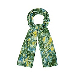 Betty Jackson.Black - Designer green floral scarf