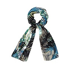 Betty Jackson.Black - Designer black palm tree scarf