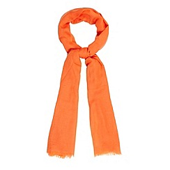 Betty Jackson.Black - Designer bright orange wool blend scarf