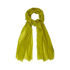 Betty Jackson.Black - Designer lime wool blend scarf