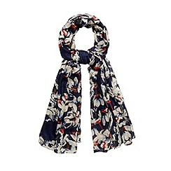 Betty Jackson.Black - Designer navy watercolour floral scarf