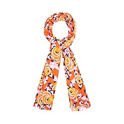 Betty Jackson.Black - Designer orange rose print scarf