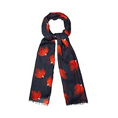 Betty Jackson.Black - Designer red deco bud print scarf