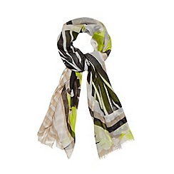 J by Jasper Conran - Designer lime stripe and daisy scarf