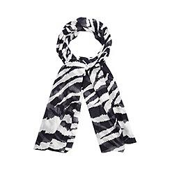 Betty Jackson.Black - Designer black zebra print scarf