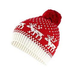 Iris & Edie - Red reindeer fairisle beanie hat