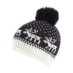Iris & Edie - Navy reindeer fairisle knit beanie