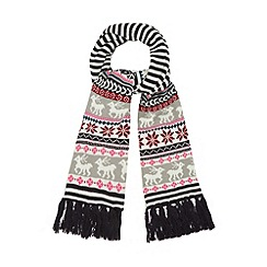 Iris & Edie - White striped fairisle scarf