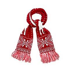 Iris & Edie - Red reindeer fairisle knit scarf