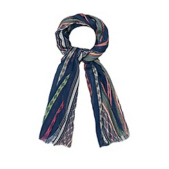 Mantaray - Navy embroidered striped scarf