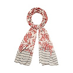 RJR.John Rocha - Designer pink blossom and striped scarf