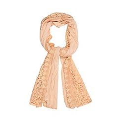 RJR.John Rocha - Designer light peach lace edge scarf