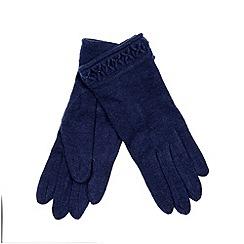 RJR.John Rocha - Designer navy beaded cuff wool blend gloves