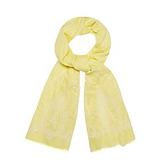 RJR.John Rocha - Designer yellow embroidered hem scarf