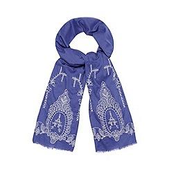 RJR.John Rocha - Designer blue embroidered hem scarf