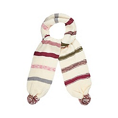 Mantaray - Cream multi striped pom pom scarf
