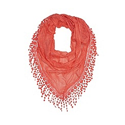 Mantaray - Dark peach crochet lace scarf