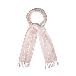 Mantaray - Pink metallic patterned stripe scarf