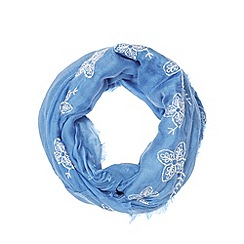Mantaray - Blue embroidered flowers snood