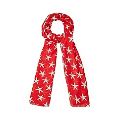 Mantaray - Red starfish print scarf