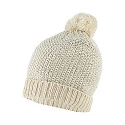 Red Herring - Cream sequin knit beanie hat