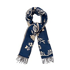 Red Herring - Navy floral jacquard scarf
