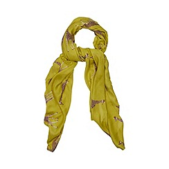 Red Herring - Bright green giraffe print scarf