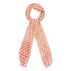 Red Herring - Pink two tone hearts scarf