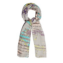 Red Herring - Grey striped palm tree print scarf