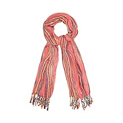 Red Herring - Pink mixed yarn metallic scarf