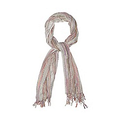Red Herring - Ivory striped metallised scarf